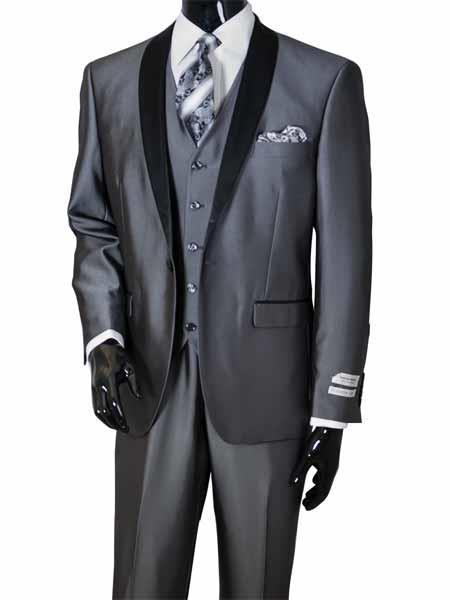 3Piece Metal Gray Shawl Lapel Vested 2Toned Sharkskin Black Lapel Suit