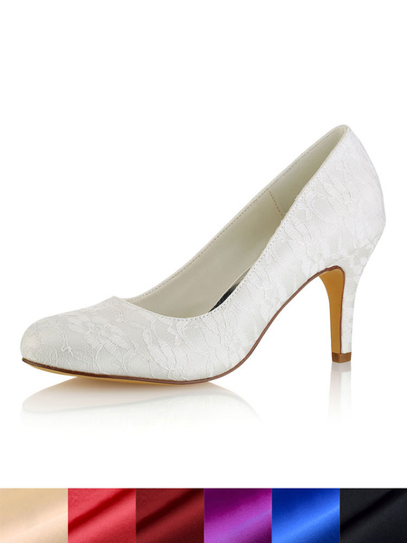 Milanoo Ivory Wedding Shoes Round Toe Lace Slip On High Heel Bridal Shoes