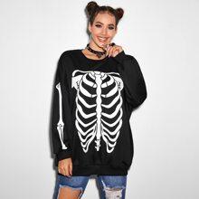 Drop Shoulder Skull Print Pullover