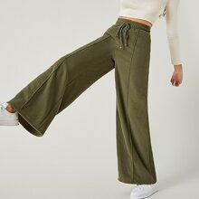 Drawstring Waist Seam Front Wide Leg Fleece Pants