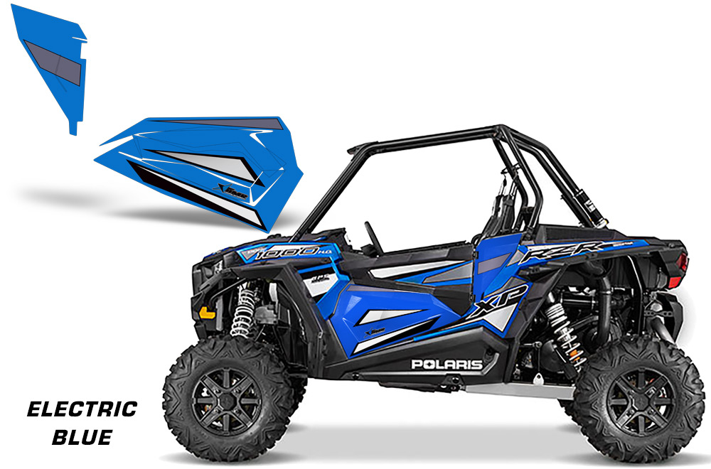 AMR Racing Lower Half Door Wraps 2 Door Graphic Inserts Electric Blue Polaris RZR XP 1000 14-18 CLEARANCE