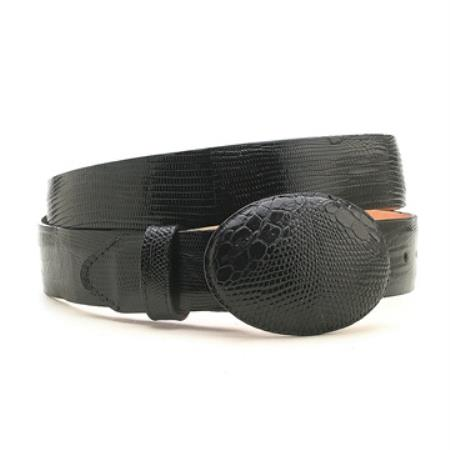 Black Genuine Lizard Belt