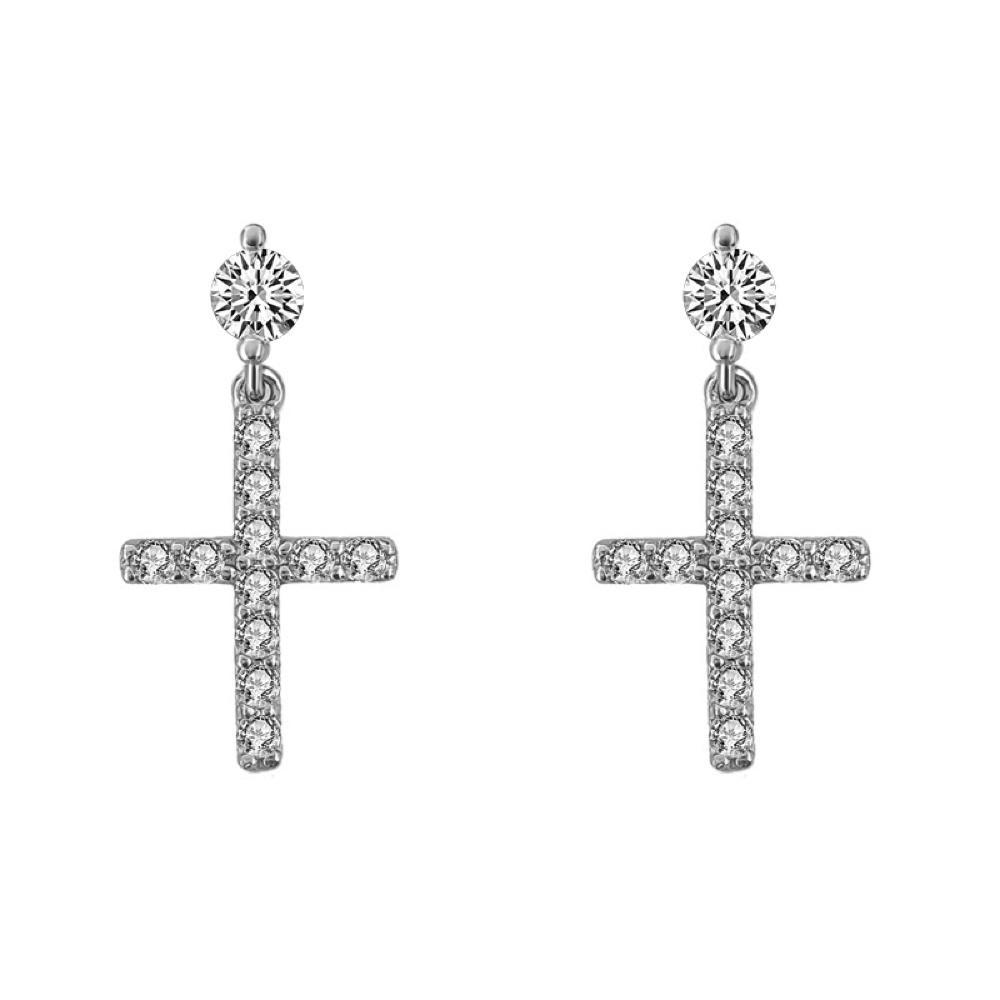 Stud Dangling Tennis Cross CZ Iced Out Earrings .925 Silver