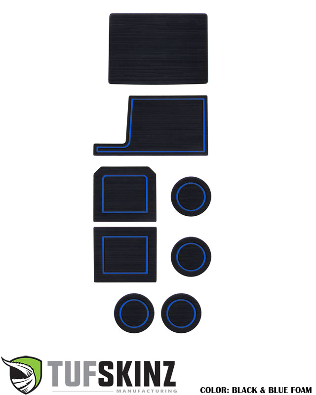 Tufskinz SUP049-FBL-X Interior Cup Holder Inserts Fits 2017-2021 Ford Super Duty F-250/ F-350/ F-450 8 Piece Kit Black/Bue