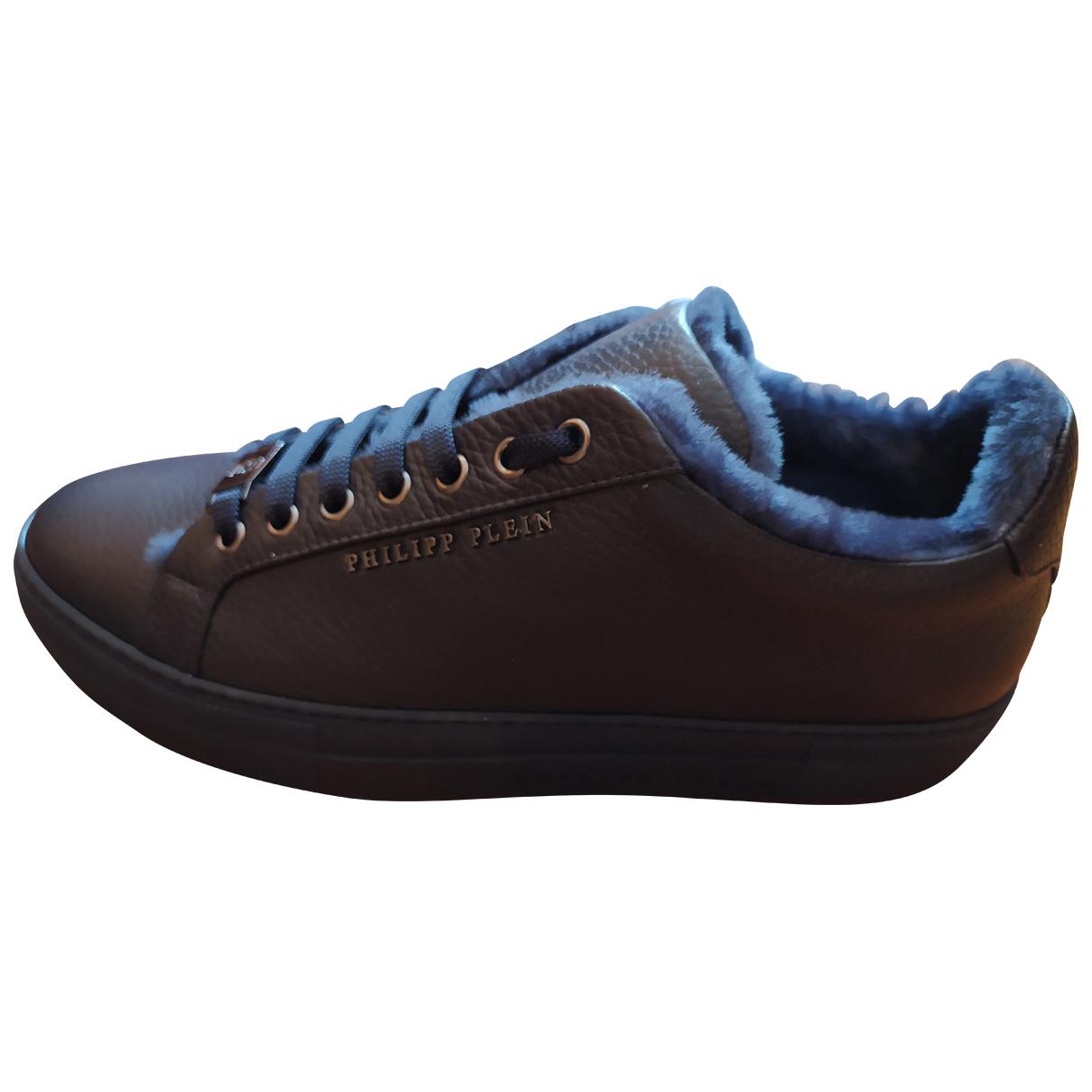 Philipp Plein Lo-Top Sneakers in  Blau Leder