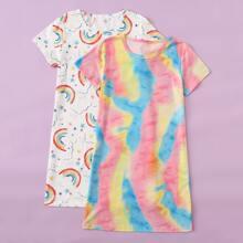 Girls 2pcs Rainbow & Tie Dye Print Night Dress