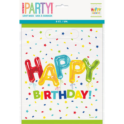 Happy Balloon Birthday Loot Bags, 8ct For Birthday Party