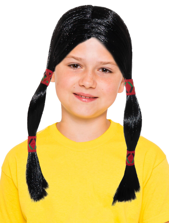 Kostuemzubehor Peruecke mit Zopfen schwarz und Stirnband Kinder