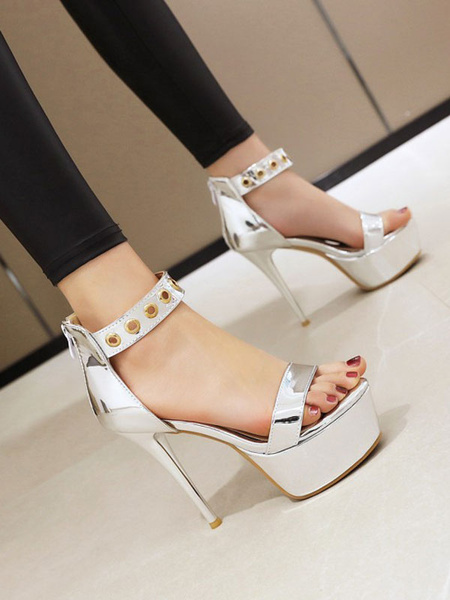 Milanoo Women Sexy Sandals Yellow PU Leather Round Toe Sexy Shoes
