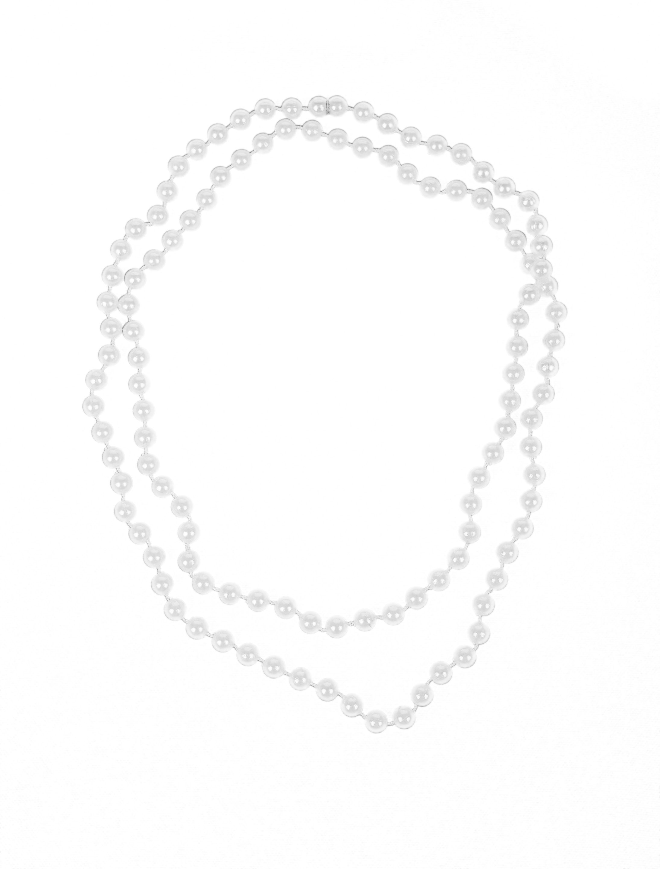 Kostuemzubehor Halskette Perlen weiss 122cm