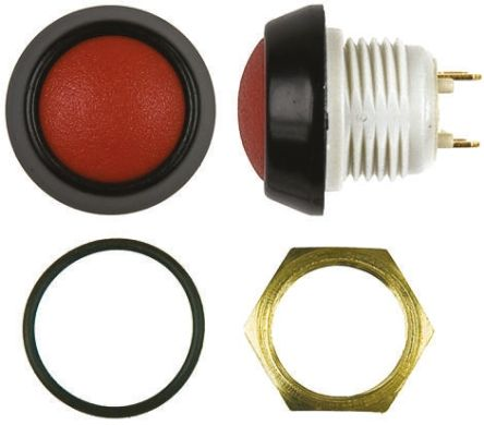 ITW 48 Single Pole Single Throw (SPST) Latching Clear LED Miniature Push Button Switch, IP67, 13.6 (Dia.)mm, Panel