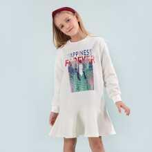 Girls Mesh Ruffle Trim Letter and Figure Graphic Sweatshirt Dress