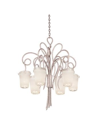 Tribecca 4289PS/FROST 6-Light Chandelier in Pearl Silver with Small Frost Side Glass