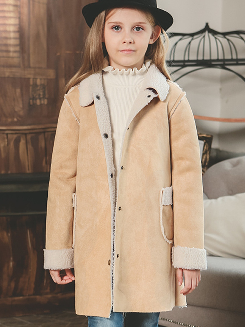 Ericdress Single-Breasted Lambswool Girls Trench Coat