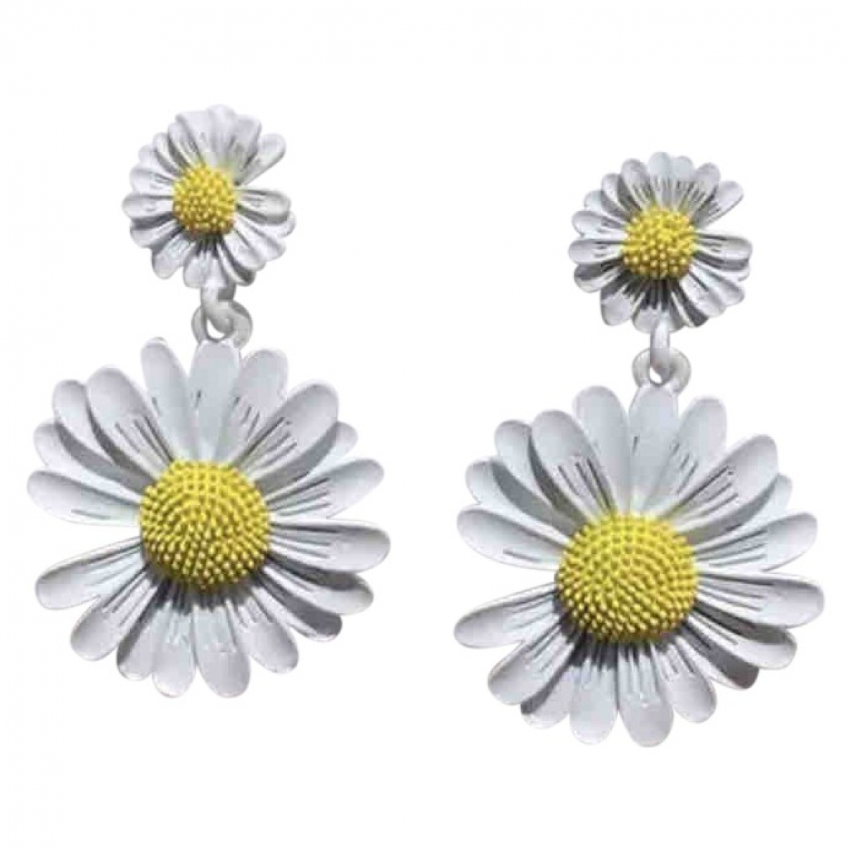 Non Signé / Unsigned Motifs Floraux White Metal Earrings for Women \N