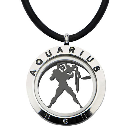 Aquarius Zodiac Reversible Stainless Steel Locket Pendant Necklace, One Size , No Color Family