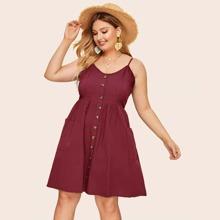 Plus Button Front Cami Dress
