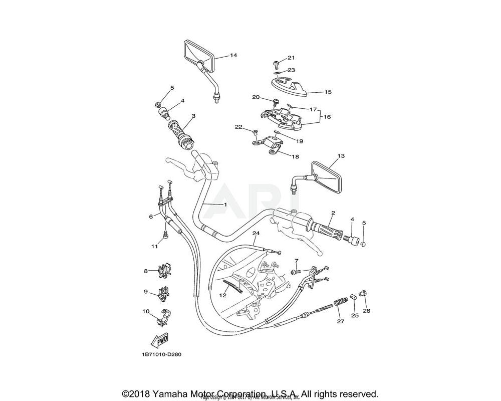 Yamaha OEM 1B7-26280-10-00 REAR VIEW MIRROR ASSY (LEFT)