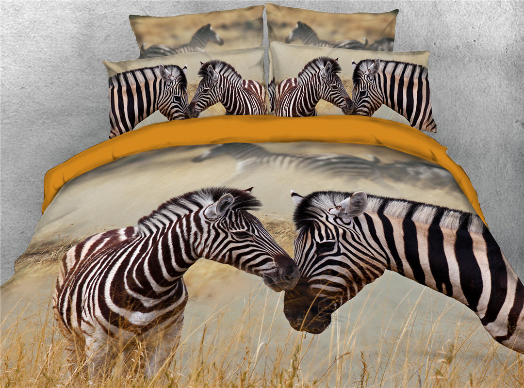 Zebra Duvet Cover Set Hand Wash Four-Piece Set Polyester Bedding Sets Endurable Skin-friendly