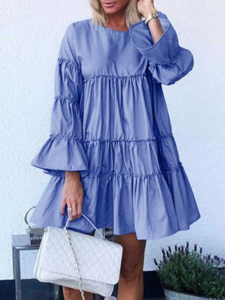 Solid Color O-neck Long Bell Sleeve Casual Layered Dress