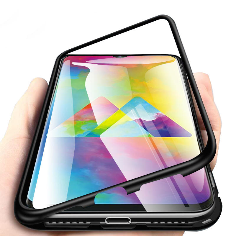 Bakeey Magnetic Adsorption Aluminum Tempered Glass Protective Case For Samsung Galaxy M20 2019