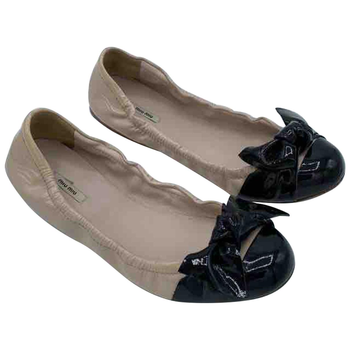 Miu Miu \N Beige Patent leather Ballet flats for Women 37 EU