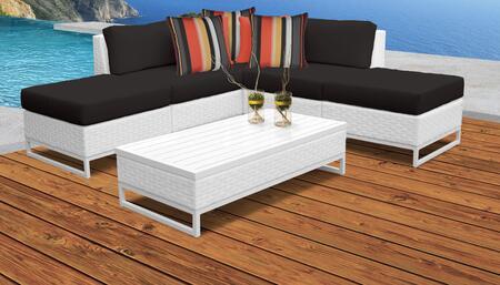 Miami Collection MIAMI-06c-BLACK Miami 6-Piece Patio Set 06c with 1 Corner Chair   2 Armless Chair   2 Ottoman   1 Coffee Table - Sail White and