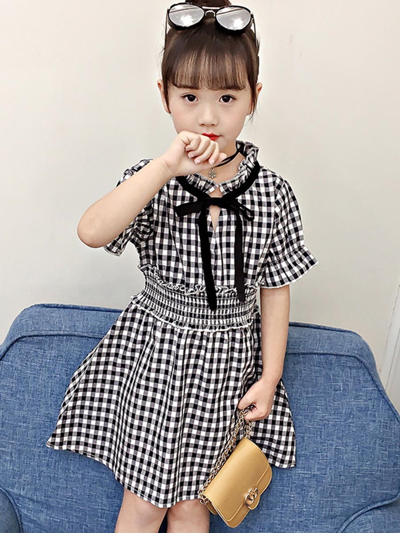 Ericdress A-Line Flare Sleeve Plaid Color Block Girl's Dress
