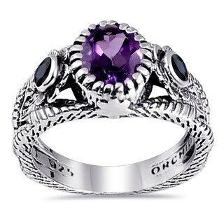 Amethyst, Sapphire, Topaz Sterling Silver Oval Statement Rings by Orchid Jewelry (6 - Amethyst)