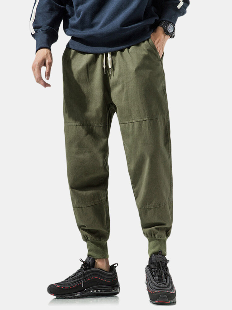 Men's Casual Elastic Waist Ankle Length Splice Loose Mid Waist Harem Pants