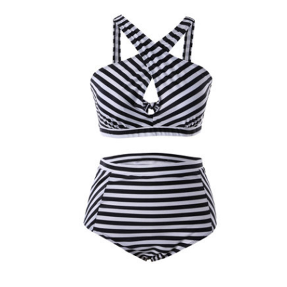 2 Piece Women Push up Padded Bikini High Waist Plus Size Swimsuit