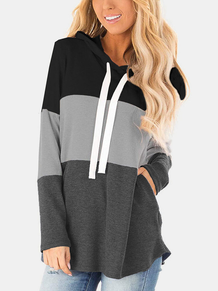 Color Block Patchwork Drawstring Long Sleeve Hoodie With Pocket