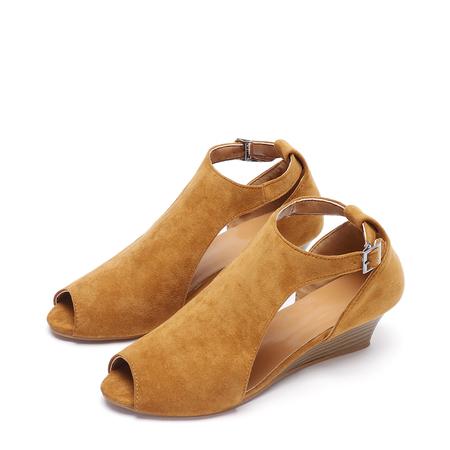 Yoins Brown Peep Toe Wedge Design Sandals