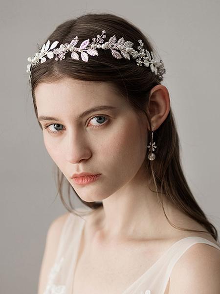 Milanoo Accesorios para el cabello nupciales plateados para bodas y perlas de hoja Accesorios para el cabello