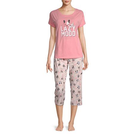 Be Yourself Womens 2-pc. Capri Pajama Set Short Sleeve Round Neck, X-large , Pink