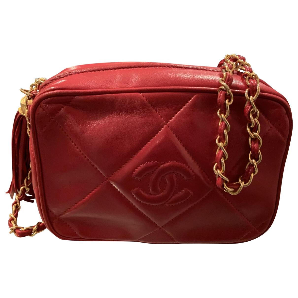 Chanel - Sac a main   pour femme en cuir - rouge