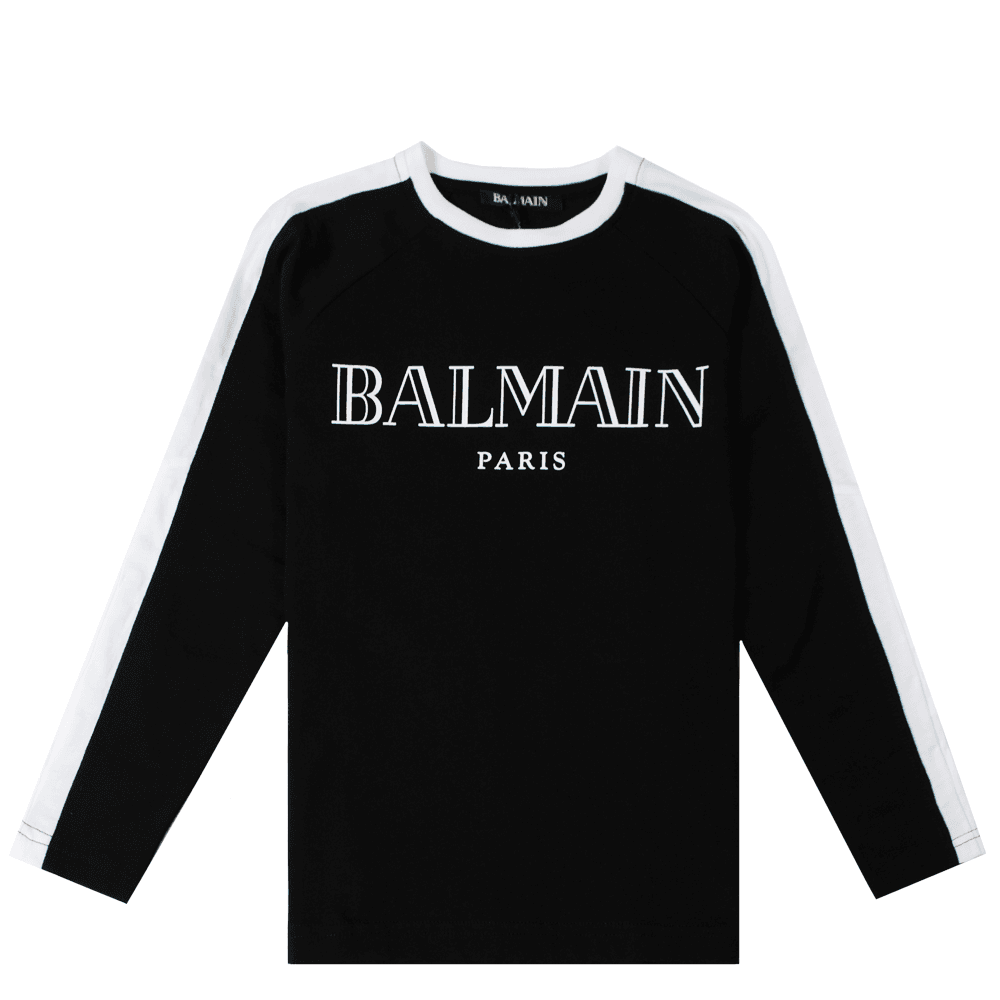 Balmain Paris Kids Long Sleeve T-shirt Colour: BLACK, Size: 8 YEARS