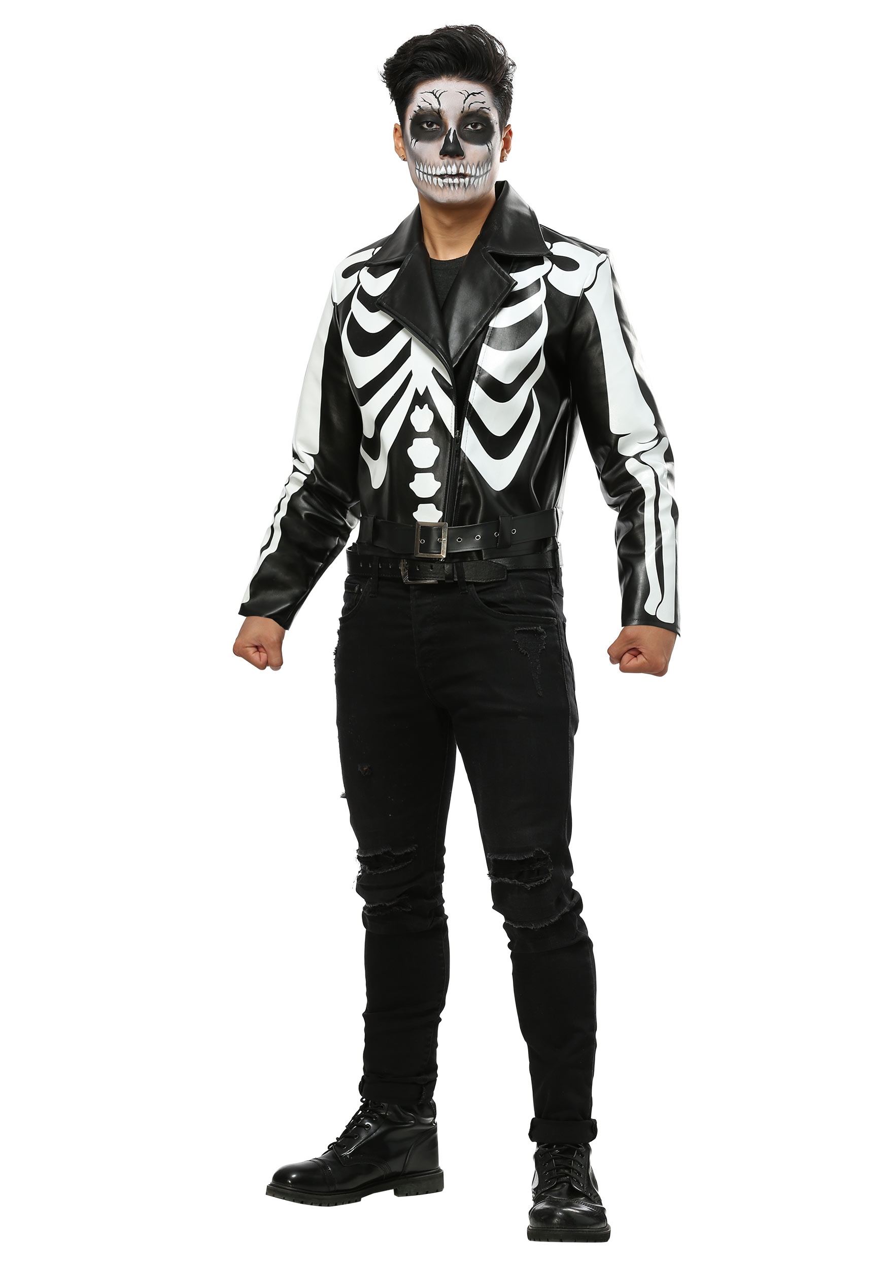 Moto Jacket Skeleton Costume for Men