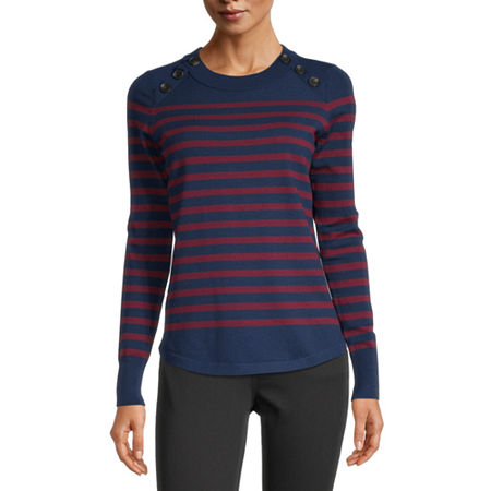 Liz Claiborne Womens Crew Neck Striped Pullover Sweater, Medium , Blue