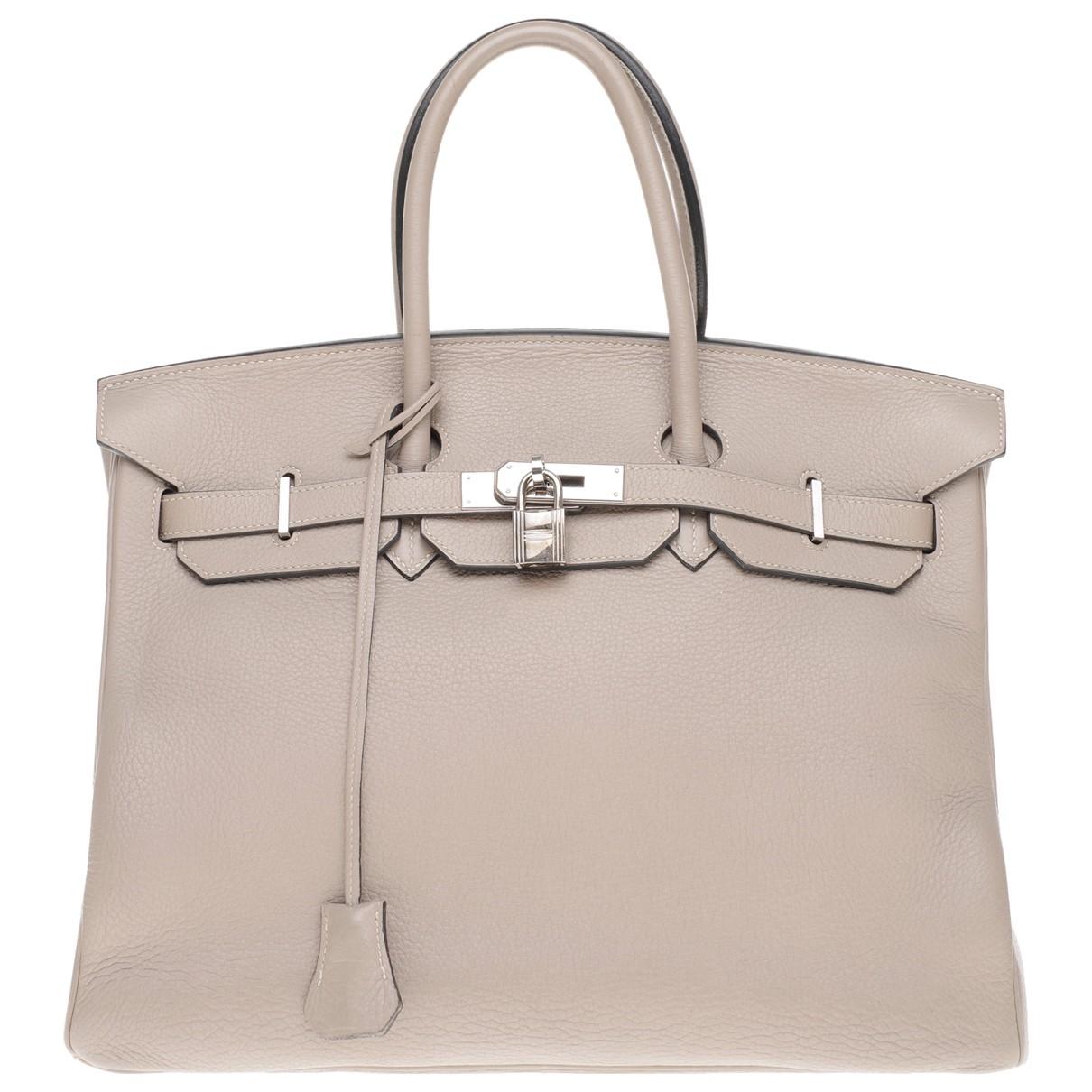 Hermès Birkin 35 Grey Leather handbag for Women \N
