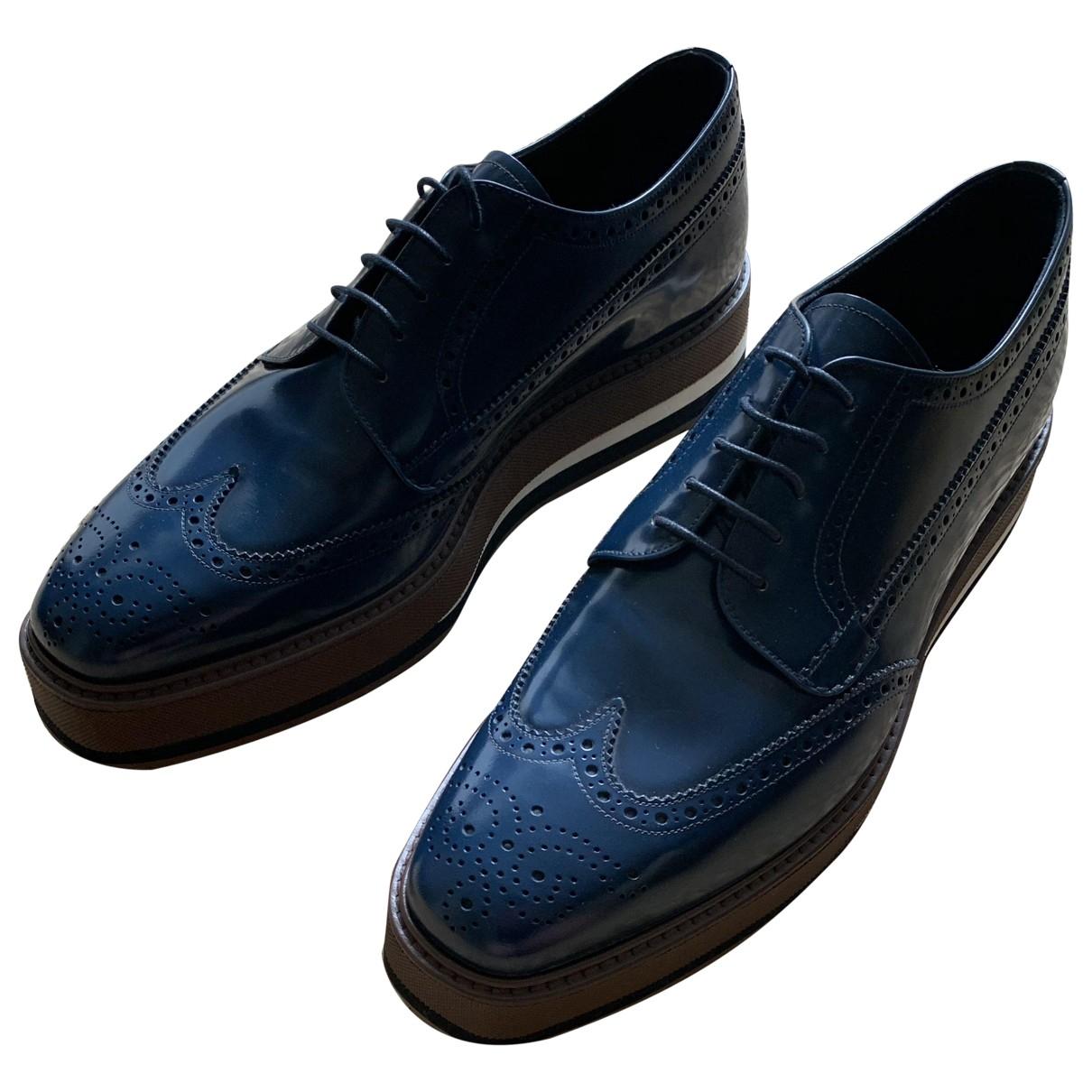 Prada - Derbies   pour homme en cuir - bleu