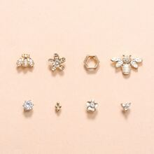 8pcs Rhinestone Flower Stud Earrings