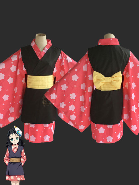 Milanoo Halloween Disfraz Carnaval Makomo Cosplay Costume Demon Slayer: Kimetsu No Yaiba Red Kimono Cosplay Set Carnaval