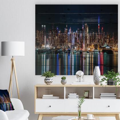 WD14587-46-36 New York Midtown Night Panorama - Print On Natural Pine Wood -