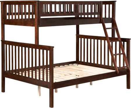Woodland Collection AB56204 Twin over Full Bunk Bed with Slat Design  Kid-Friendly  Ladder Included and Hardwood Construction in Walnut
