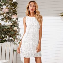 Fringe Overlay Fitted Dress