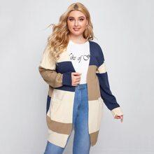 Cardigan de color combinado de hombros caidos