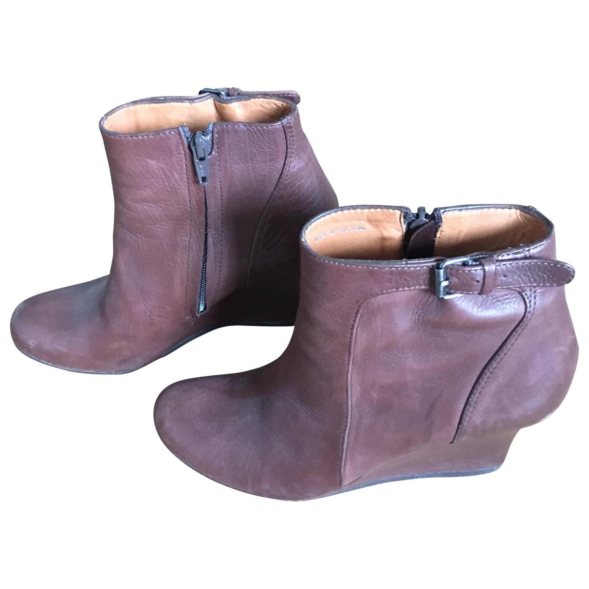 Lanvin - Boots   pour femme en cuir - marron