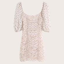 Off-shoulder Polka Dot Ruched Bodycon Dress