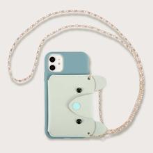 1pc Chain Detail Wallet iPhone Case
